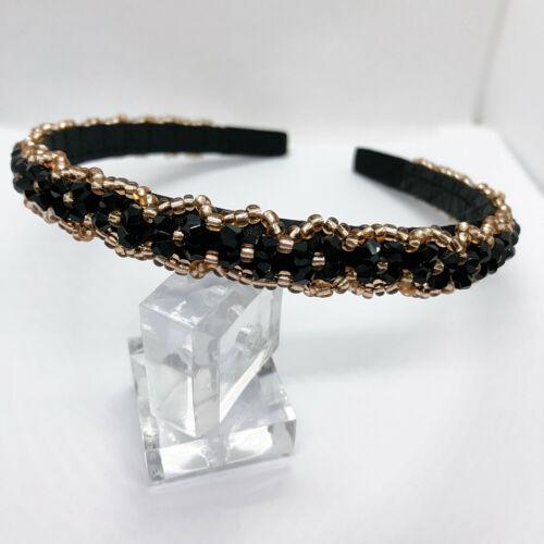 Noir /& Or Perles Bandeau Brillant Cristal Bijoux Hairband Towie Mariage