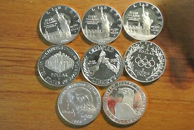 Lot of 5 Mixed 1983-1990 United States Commemorative 90/% Silver Dollar