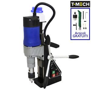 Trapano-Magnetico-Industriale-1200W-230V-35mm-Adattatore-Carotatrice-e-Mandrino
