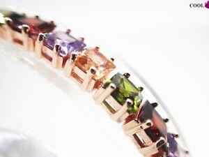 18-Karat-Rosegold-Multi-Color-Princess-Edelstein-Tennis-Armband-8-Zoll
