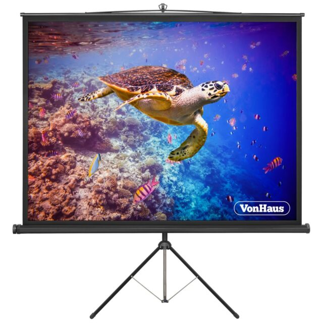 VonHaus 67 Inch Portable Projector Screen with Tripod Stand   1:1 Aspect Ratio