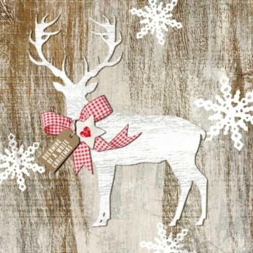 4 x Single Paper Table Napkin//Decoupage//Craft//Christmas//Country Xmas Deer 2