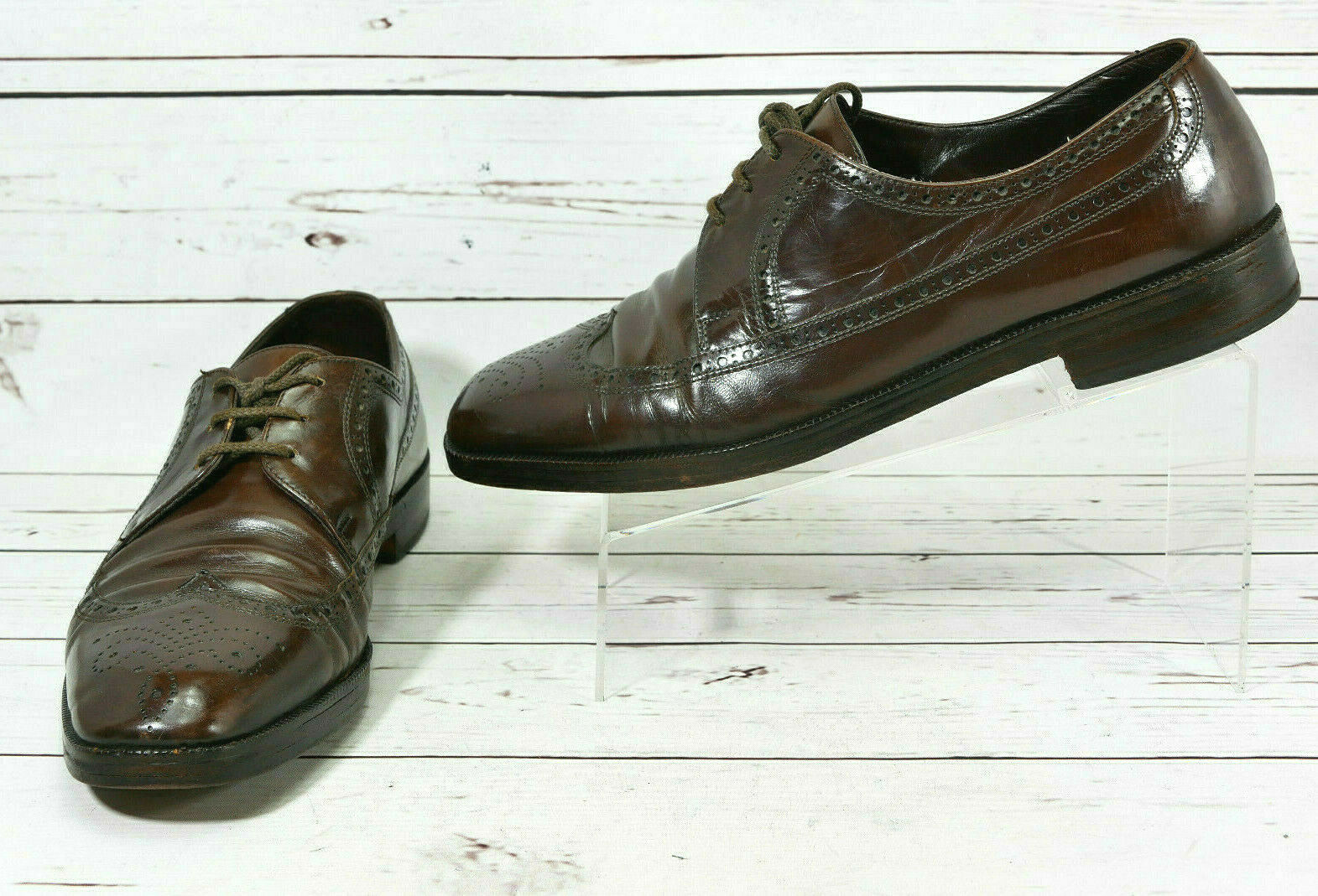 Bally Prestige Brown Leather Oxfords Wingtip Dress Mens Size 11 E Wide shoes