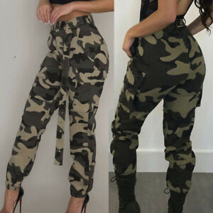 Women Lady Camo Cargo Trousers Casual Pants Military Army Combat Camouflage Jean