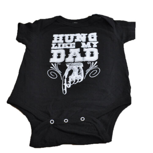 Hung Like My Dad Authentic Spencers Funny Novelty Fashion Baby BodySuit Black