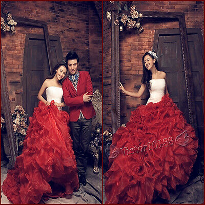 2014 Red Theme Wedding Dress Prom Gown Evening Formal Party Cocktail Ball Gown