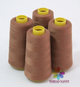 4 Xtra Large Cones of Polyester Sewing Quilting Serger Threads 3000yards Brown