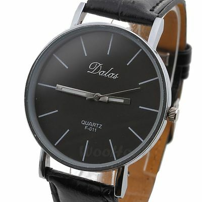 New Fashion Classic  Women Lady Leather Band Analog Quartz Wrist Watch Black