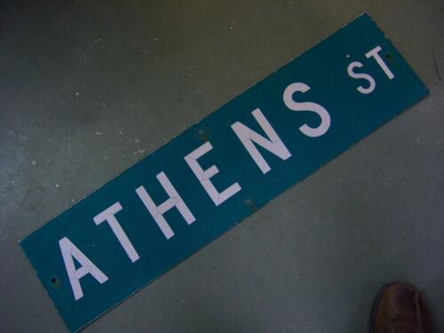 "Vintage ORIGINAL ATHENS ST STREET SIGN WHITE ON GREEN BACKGROUND 36/"" X 9/"""