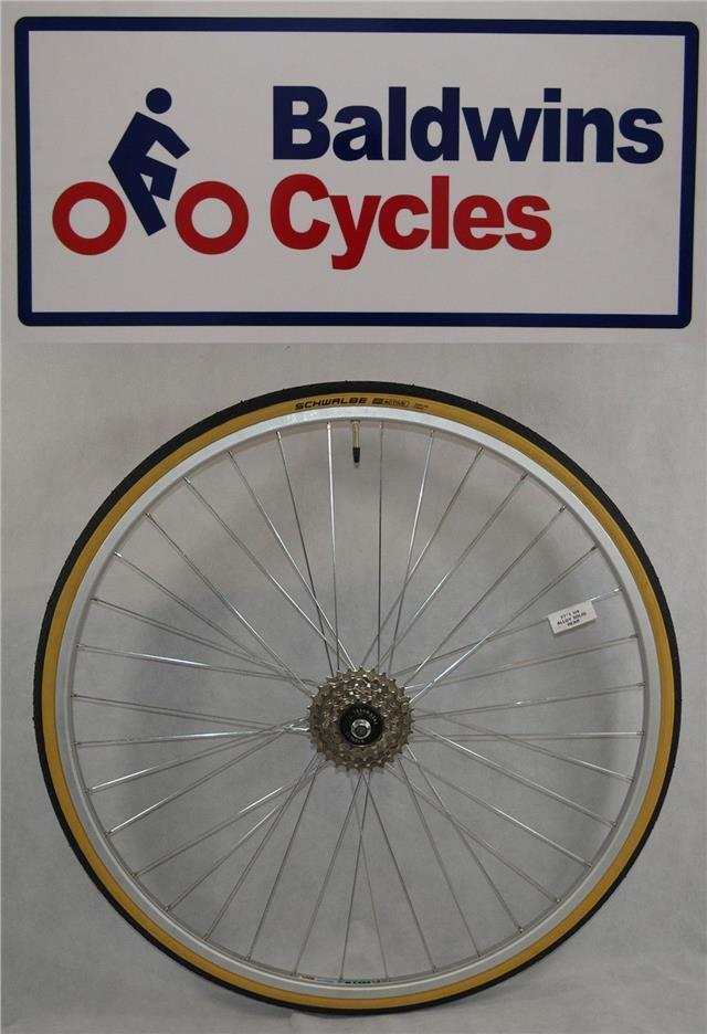 27  x 1 1 4 REAR Bike Wheel + Premium Amber Wall Tyre & 5 Speed FreeWheel