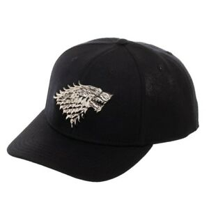 2809e18323fbc OFFICIAL Game of Thrones HOUSE STARK - Black Snapback Hat Cap Curved ...