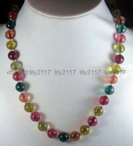 """8 mm multicolor tourmaline gemme perles rondes Colliers 18/"""" Belle charmante"""