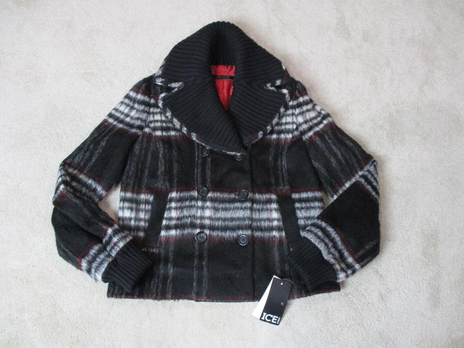 Nueva chaqueta  para mujer ICE Iceberg pequeño tamaño 8 Marrón Rojo a Cuadros Abrigo Damas  entrega rápida