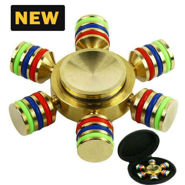 EDC DIY 6 Point Brass  Gyro Hand Spinner Tri Fidget Focus Toy Adult ADHD Autism