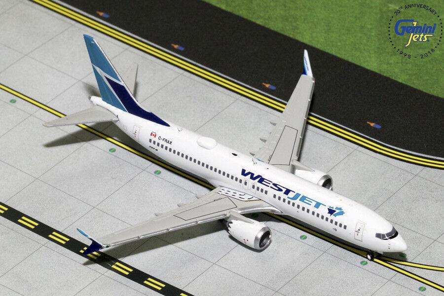 WestJet Boeing 737 MAX 8 C-FRAX Gemini Jets GJWJA1823 Scale 1 400