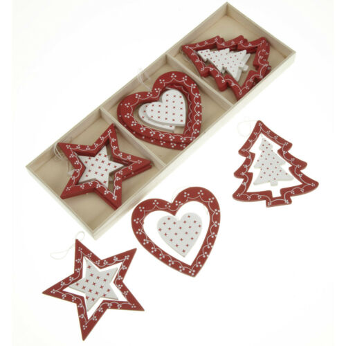 12 Wooden red white shabby chic christmas decorations tree star heart bells