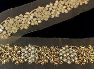 Unique-Indian-Lace-Bridal-Trim-Ribbon-Sewing-Craft-Wedding-Sari-Border-by-1-Yard