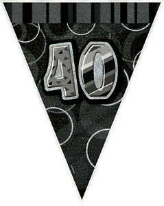 40th-BIRTHDAY-BANNER-BLACK-amp-SILVER-HOLOGRAPHIC-FLAG-BANNER-3-6m-12ft