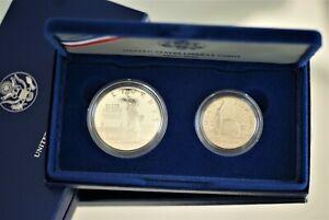 1986-US-Liberty-2-Coin-Proof-Set-w-Silver-1-amp-CopperNickel-50C-NO-CoA-A1596