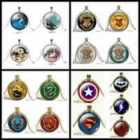 Harry Potter Game of Thrones America Super Hero Glass Pendant Chain Necklace