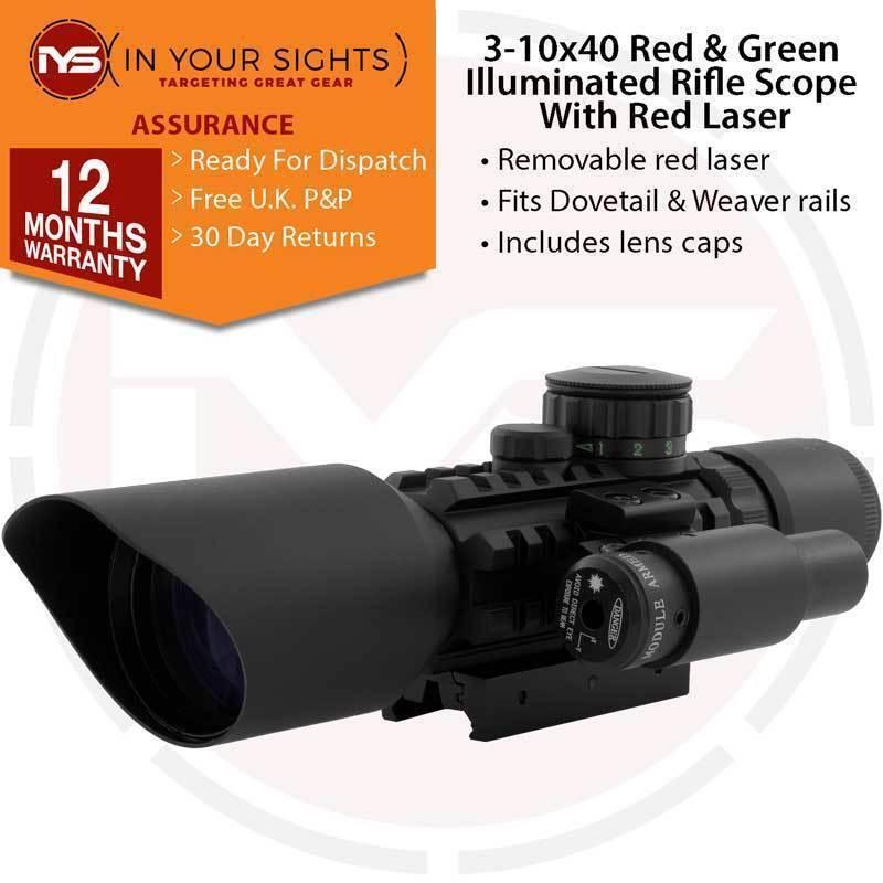 3-10x40  Punto Rojo y verde Iluminado Rifle Airsoft vista + Laser Rojo  tiempo libre