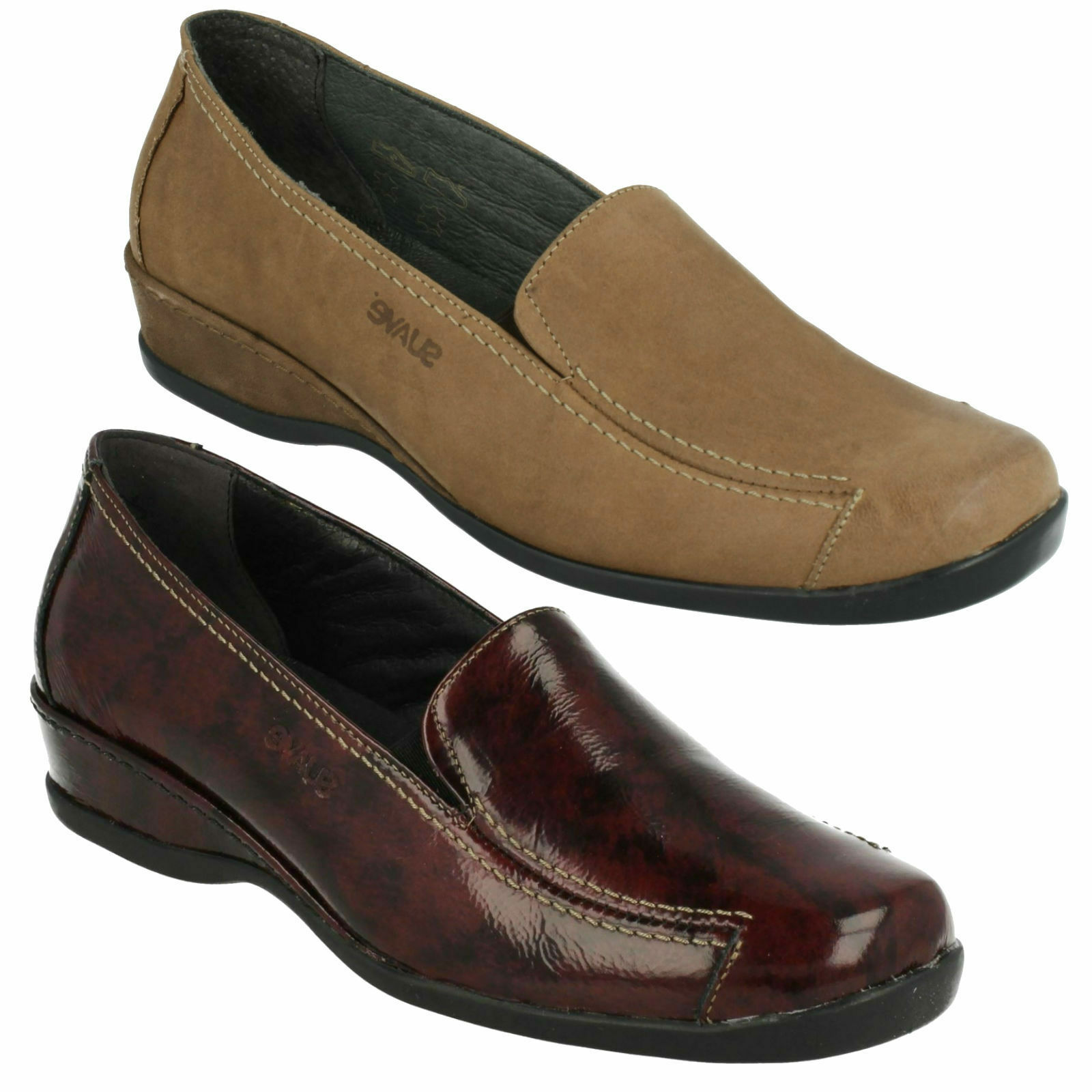 e07ee8036b3 LADIES SLIP ON ELASTIC GUSSET LEATHER WIDE FIT LOAFER SHOES MARIA COMFORT  SUAVE npteih3414-Women s Comfort Shoes