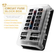 Blade Fuse Box Holder Block LED Indicator IP56 ATC ATO 12-Way 250Amp