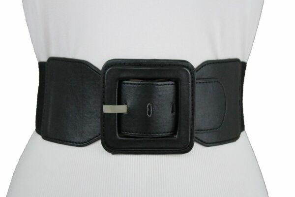 100% Verdadero Damas Elástico Cinturilla Tela Color Negro Piel Sintética Cinturón