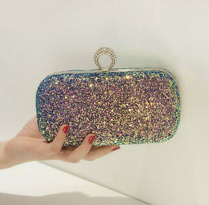 Image Is Loading New Crystal Sequin Evening Bag Clutch Purse Party