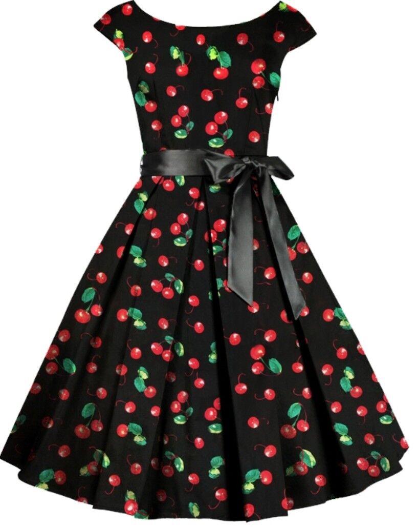 18 20 22 28 NEW schwarz Cherry Print NEW 40s 50s Pin-Up Retro Rockabilly Dress