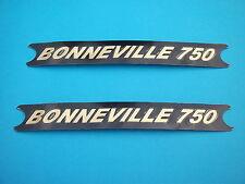 TRIUMPH BONNEVILLE T140V SIDE PANEL DECALS PAIR (2) BLACK & GOLD  *NEW*