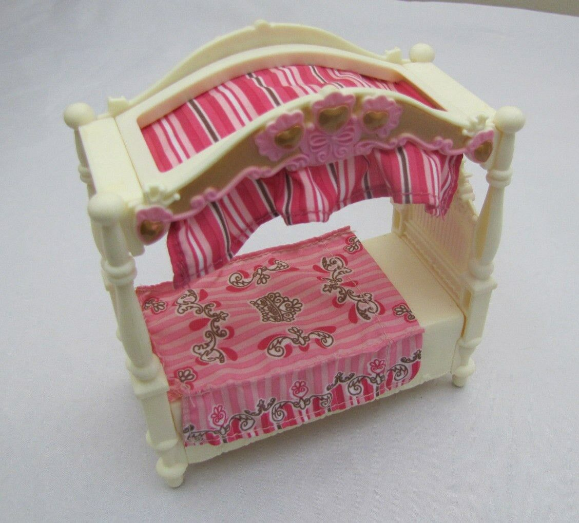Rare Fisher Price Loving Family Dollhouse GIRLS CANOPY BED for BEDROOM Pink Cute