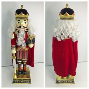 Bombay-2006-Exclusive-Nutcracker-King-24-034-with-Sword-Red-Velvet-Wood-Christmas