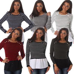 2in1-Strick-Pullover-Pulli-Sweater-Streifen-Hemd-Bluse-Rand-Buero-elegant-S-34-36