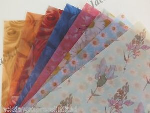 25 X Vellum Paper A4 115gsm Printed Floral Flowers 8 Designs To