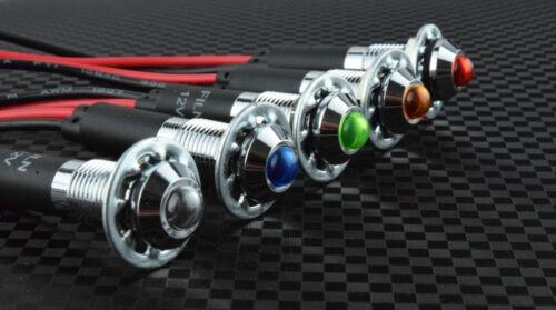 5pc 8mm Red Blue Green Amber White 12v Pre Wired LED Pilot Dash Indicator Light