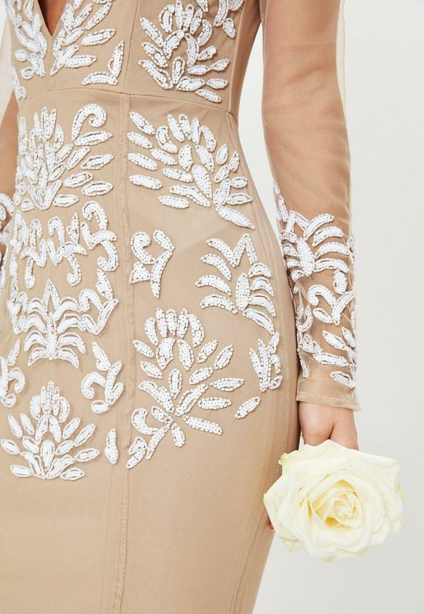 MISSGUIDED bridal nude long sleeve plunge plunge plunge embellished maxi dress Nude Uk 8  us 4   Genial    Günstigen Preis    Lass unsere Waren in die Welt gehen  0d6d37