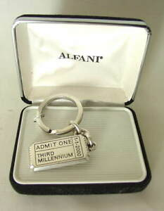 ALFANI-Ticket-ADMIT-1-THIRD-MILLENNIUM-Silvertoned-Keychain-Made-in-USA-NEW-NIB