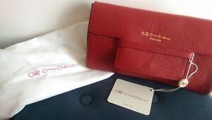 best service 9d6f1 e4abc Dettagli su Cruciani pochette borsa tracolla 100% pelle mod.AD20.901 rosso  scuro