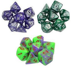 All 6set 42pcs W// bag Polyhedral Dice Black Blue Marble Blend Swirl DnD RPG D20