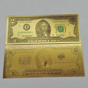 Image Is Loading Unc 24k Gold 10pcs Usd 2 Dollar Foil