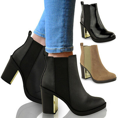 NEW LADIES WOMENS GOLD MID HIGH HEEL CHELSEA LOW ANKLE BOOTS CHUNKY BLOCK SHOES