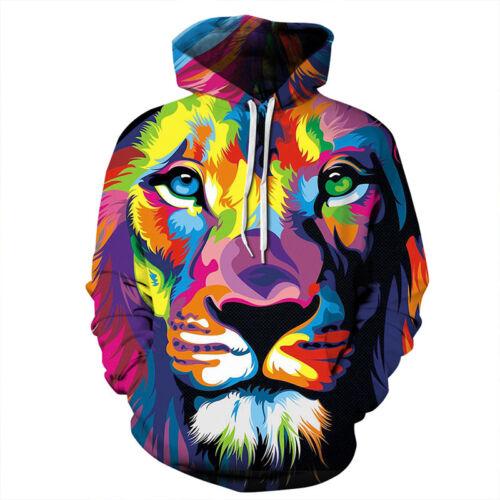 Couple Unisex Hoodie 3D Lion Print Pullover Hooded Sweatshirt Coat Pullover Tops