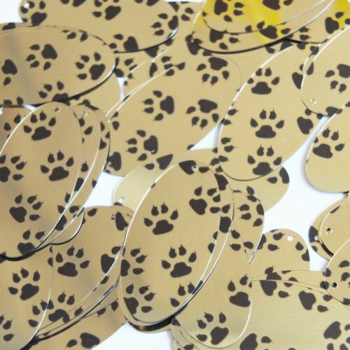"Sequin Oval 1.5"" Black Gold Animal Paw Print Metallic"