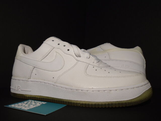 2005 Nike Air Force 1 Low PATENT LEATHER SWOOSH WHITE ICE 307109-111 NEW 12 10.5