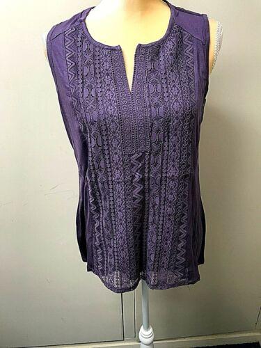 New RXB Women/'s Purple Blouse Medium Sleeveless V-Neck  Embellished