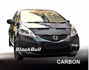 Haubenbra-fuer-Honda-Jazz-Bj-2008-14-Car-Bra-Steinschlagschutz-Tuning-CARBON