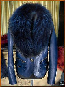 newest 5de62 c5ac0 Dettagli su Giacca Giubbino Giubbotto in/di pelle pelliccia blu 010