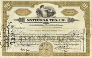 National-Tea-Company-gt-1930s-Chicago-Illinois-stock-certificate-share
