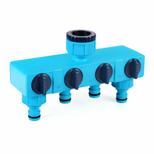 """Quaternary Distributor Valves 1/>3//4/"""" Tap Garden Pipe Joiner 4-Way Out 1//2/"""" BL"""